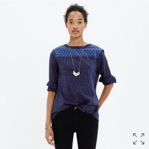 Madewell Indigo Calico Long Sleeve Top